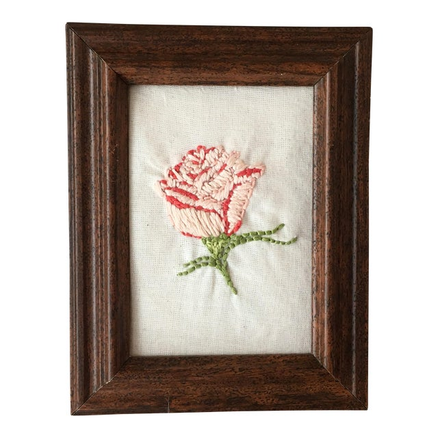Hand Embroidered Rose Art - Image 1 of 5