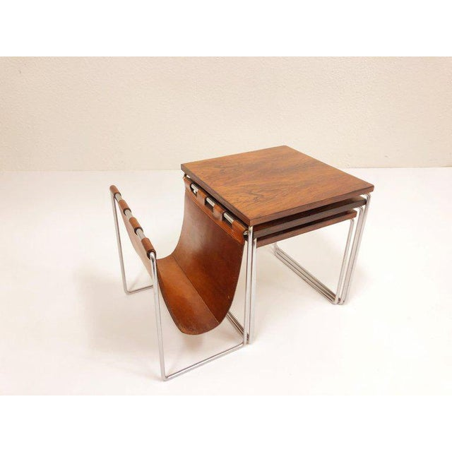 Animal Skin Rosewood and Chrome Nesting Tables - Set of 3 For Sale - Image 7 of 8