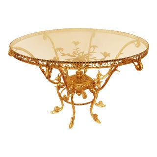 Ornate Round Mid-Century Brass & Glass Coffee Table For Sale