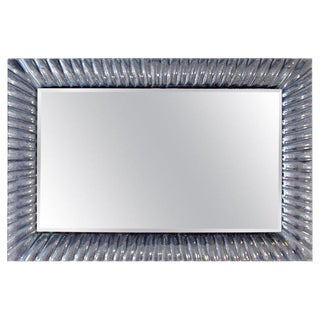 1960s Mid-Century Modern Italian Textured Clear Murano Glass Framed Wall Mirror For Sale