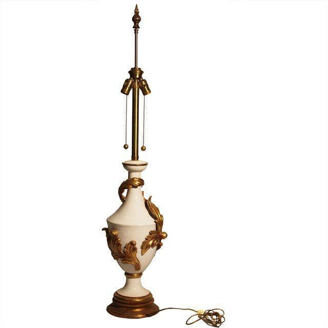 French Provincial Lamp - Marbro Bros. Vintage Gold & Cream Table Lamp For Sale - Image 3 of 5