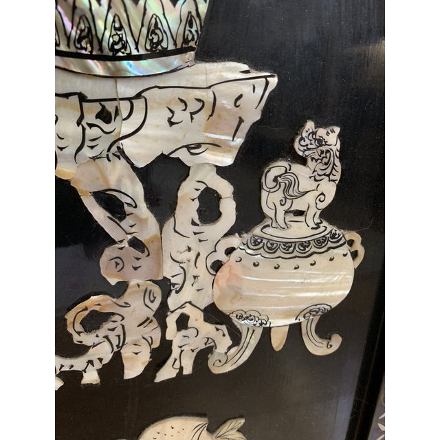Metal Midcentury Mother of Pearl Asian Chinoiserie Wall Accent For Sale - Image 7 of 13