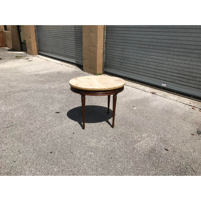 1910s French Louis XVI Marble Top Side Table For Sale - Image 11 of 13