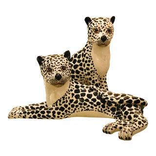 Vintage Italian Porcelain Leopard Figurines- A Pair For Sale