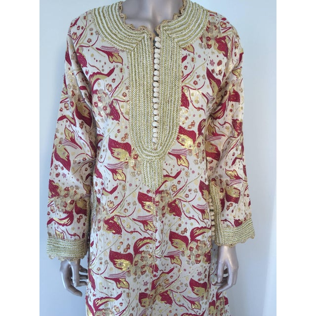 Moroccan evening or interior red and gold metallic floral brocade dress kaftan with gold trim. Handmade vintage exotic,...