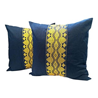Black and Gold African Sash Pillow Covers - a Pair