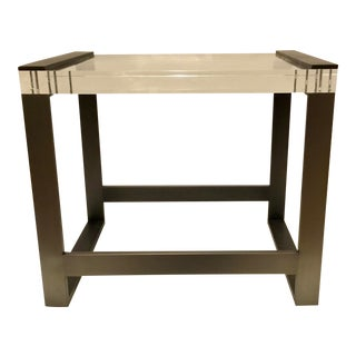 Modern Dark Gray Metal and Acrylic End Table For Sale
