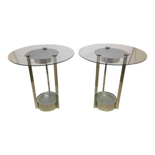 Dorothy Thorpe Illuminated Side Tables Nickel Plated - a Pair For Sale