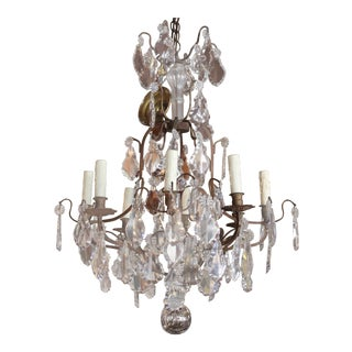 French Crystal & Bronze Chandelier
