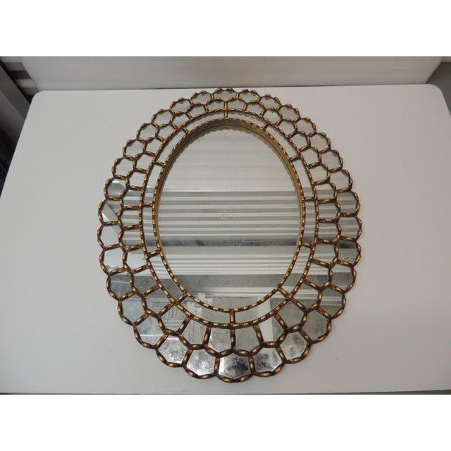1990s Vintage Large Oval Gold Leaf Peruvian Mirror With Scalloped Edges For Sale - Image 5 of 8