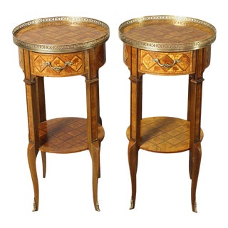French Marquetry Side Tables - A Pair