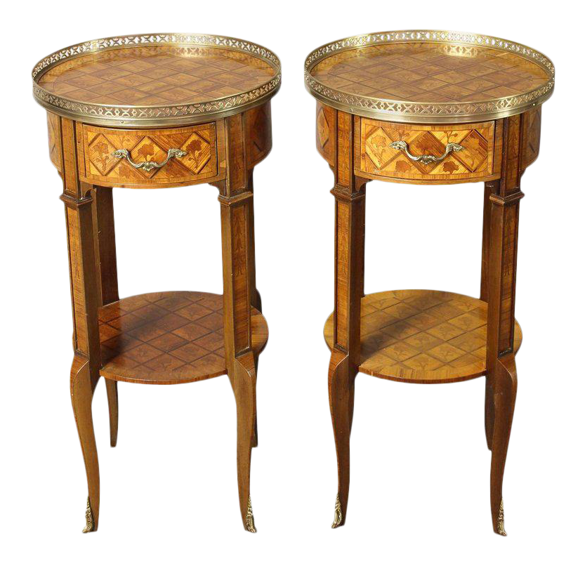 French Marquetry Side Tables   A Pair