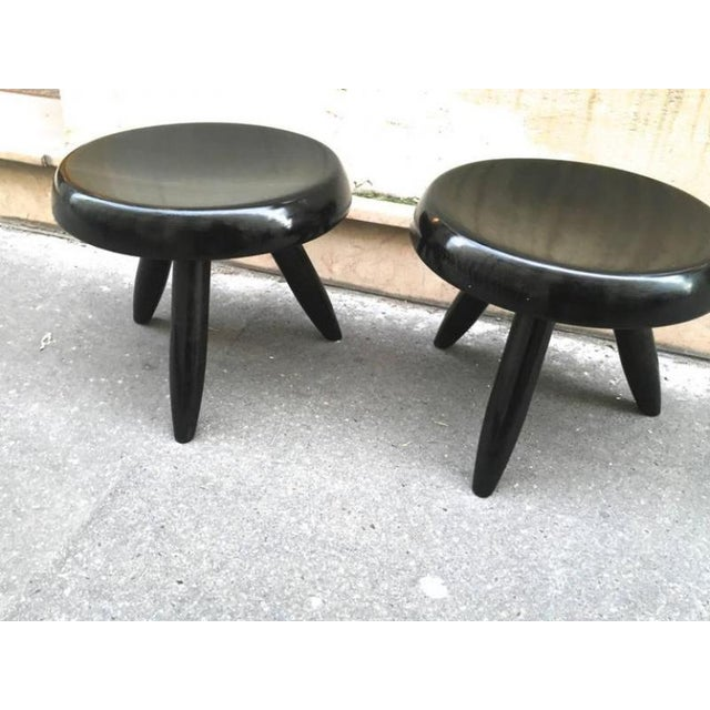 Mid-Century Modern Charlotte Perriand Rare Genuine Pair of Black Tripod Stools For Sale - Image 3 of 4