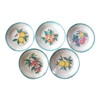 Vintage Rustic Glazed Terracotta Bowls With Fruit Designs Made in Italy - Set of 5 For Sale