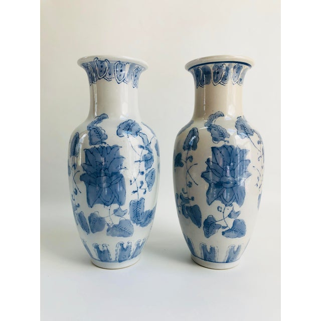 Vintage Chinese Blue White Porcelain Vases A Pair Chairish