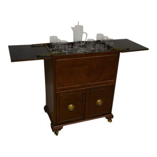 Chippendale Style Mahogany Liquor Cabinet & Glassware - Set of 17