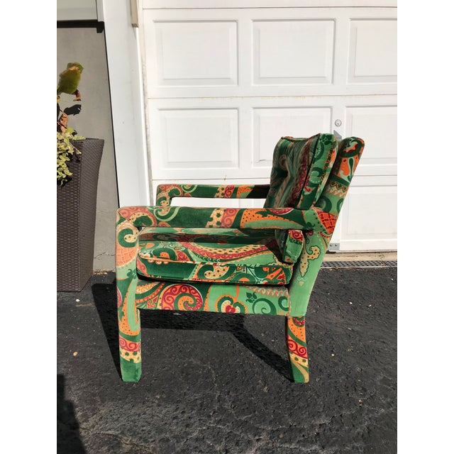 1980s 1980s Vintage Velvet Paisley Parsons Chair For Sale - Image 5 of 11
