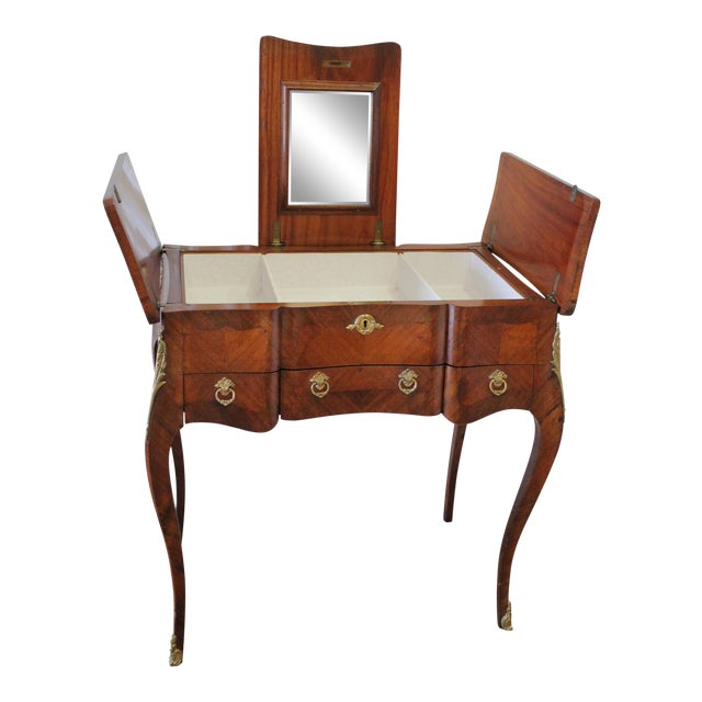 20th Century Italian Inlaid Vanity With Mirror and Key For Sale