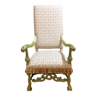 Painted Wooden King's Chair For Sale
