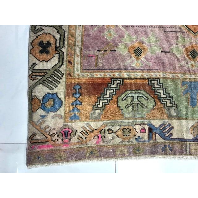 Vintage Tribal Turkish Oushak Anatolian Handmade Area Rug - 4′3″ × 9′3″ For Sale - Image 10 of 11
