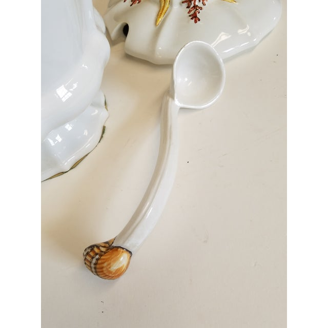 White Majolica Soup Tureen With Sea Shells & Coral, Made in Italy for B.Altman Ny - Image 5 of 6