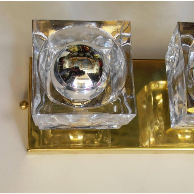 Metal Murano Glass Cube Brass Sconces / Flush Mounts by Fabio Ltd For Sale - Image 7 of 11