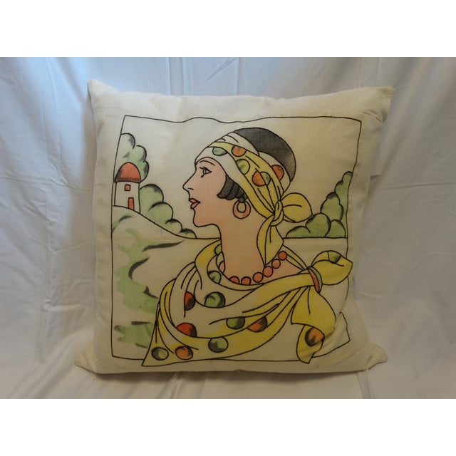 Art Deco Embroidered Pillow - Image 2 of 3