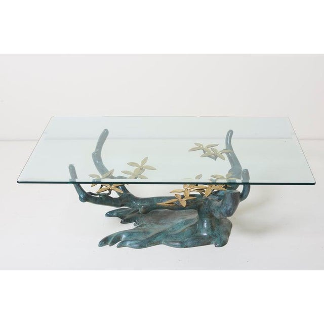 Hollywood Regency Brass Bonsai Tree Coffee or Side Table in the Manner of Willy Daro For Sale - Image 3 of 13