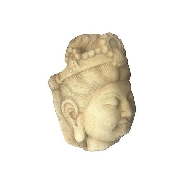 Carved Marble Quan Yin Head - Image 4 of 4