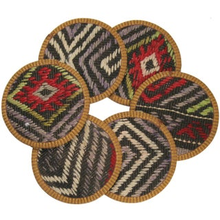 Rug & Relic Kilim Coasters, Zümrüt - Set of 6