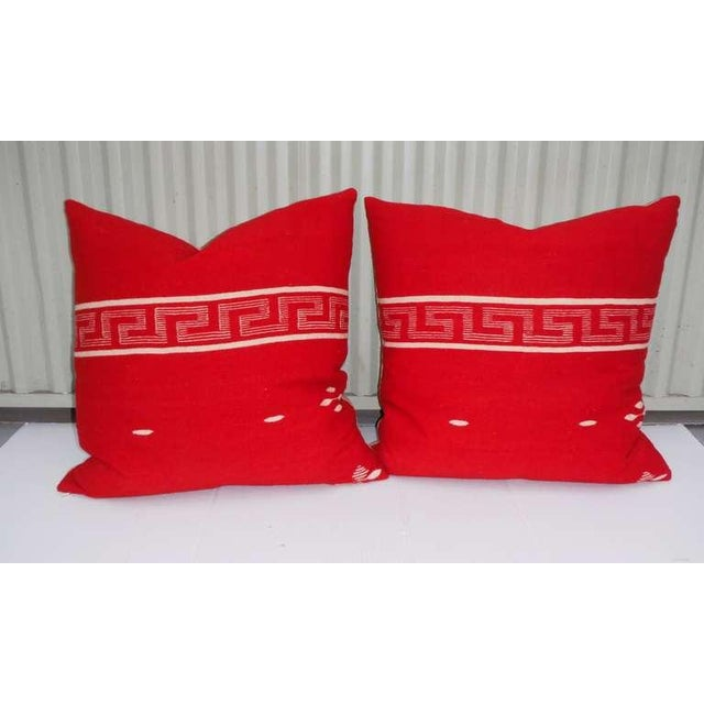 Early 20th Century Collection of Three Brilliant Texcoco Woven Pillows For Sale - Image 5 of 5