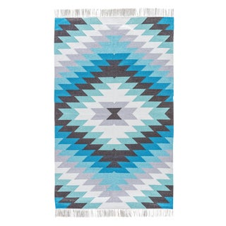 Jaipur Living Mojave Geometric Aqua & Gray Area Rug - 9' X 12' For Sale