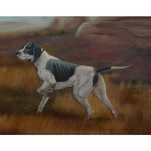 An early to mid 20th-Century sporting or hunting dog oil painting signed with a monogram, A S, lower right. It is an...