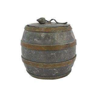 Antique Pewter & Brass Jar For Sale