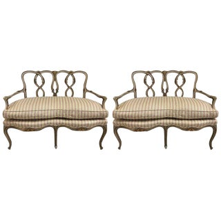 Pair of Rococo Style Parcel-Gilt Painted Settees