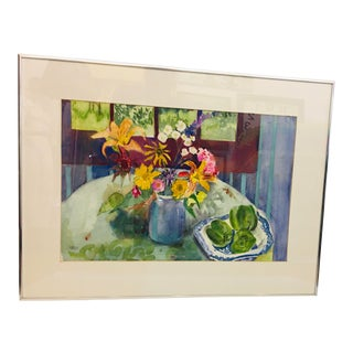 """1990s """"Flowers & Peppers"""" Still Life Watercolor Painting by Sylvia Weinberg, Framed For Sale"""