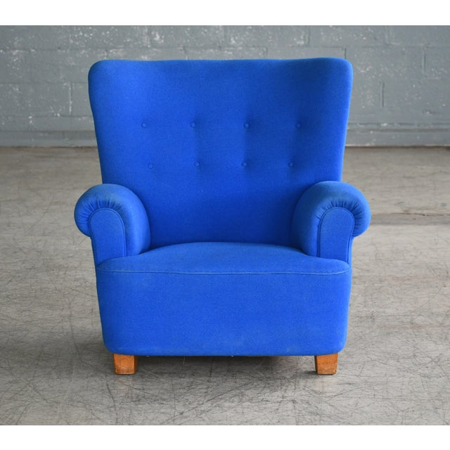 Art Deco Danish Midcentury Fritz Hansen Style Large Scale Club or Lounge Chair, 1940s For Sale - Image 3 of 10