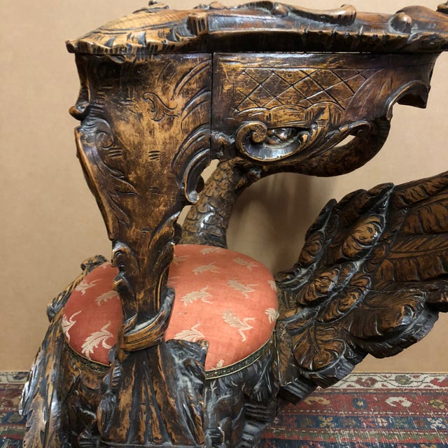 Chestnut 19th Century Venetian Hand Carved Swan Grotto Chair For Sale - Image 8 of 13