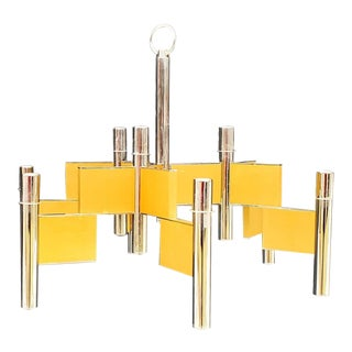 1970s Yellow and Chrome Sciolari Chandelier For Sale