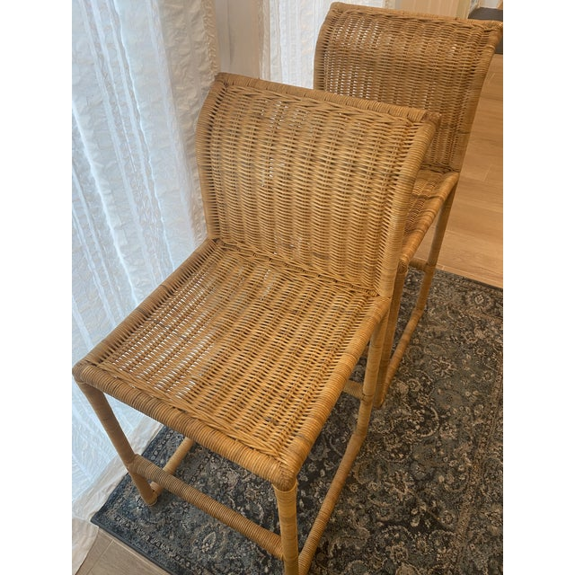 Mid Century Modern Costal Boho Chic Wicker Bar Stools - a Pair For Sale - Image 10 of 13