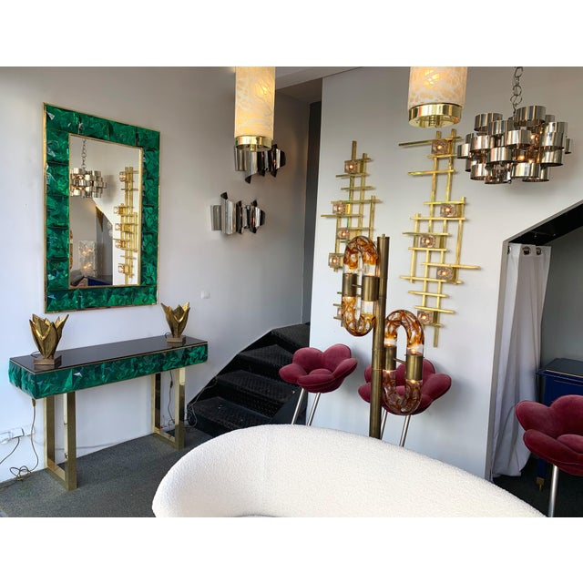 Contemporary Brass Mirror Console with Green Murano Glass, Italy For Sale - Image 12 of 13