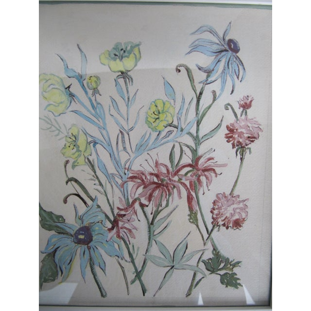 Traditional Vintage Acrylic Flower Painting For Sale - Image 3 of 7
