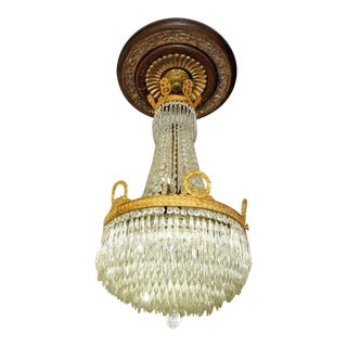 Antique 19thc French Empire [Attributed To] Baccarat - Gilt Bronze - Crystal Chandelier For Sale