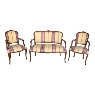 Vintage French Louie XV Style Upholstered Settee & Arm Chairs - 3 Piece Set For Sale