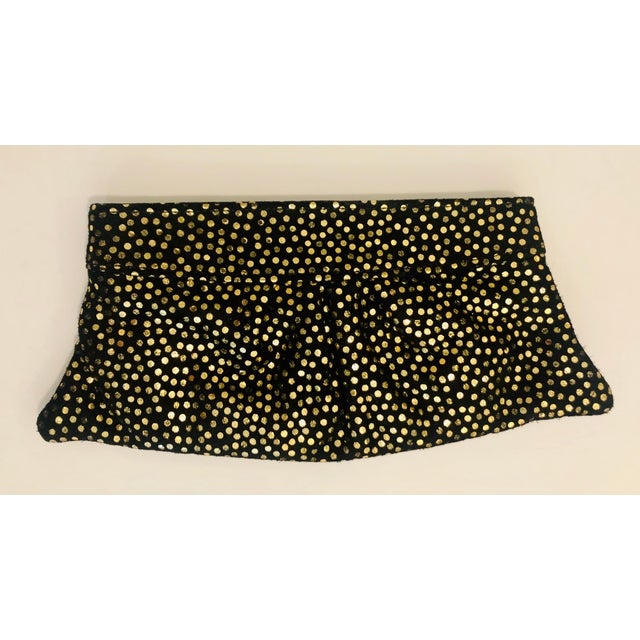Perfect for a night out: Brand new Lauren Merkin clutch made of rich black suede decorated in shiny gold polka dots. Gold...