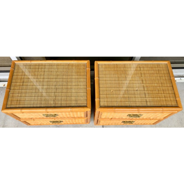 Coastal Coastal Style Bamboo/Rattan Nightstands For Sale - Image 3 of 8