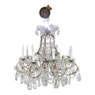 French Bronze & Crystal Prism Chandelier