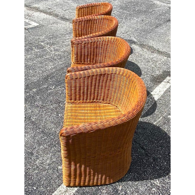 Boho Chic Vintage Boho Chic Rattan Barrel Chairs -Set of 4 For Sale - Image 3 of 13