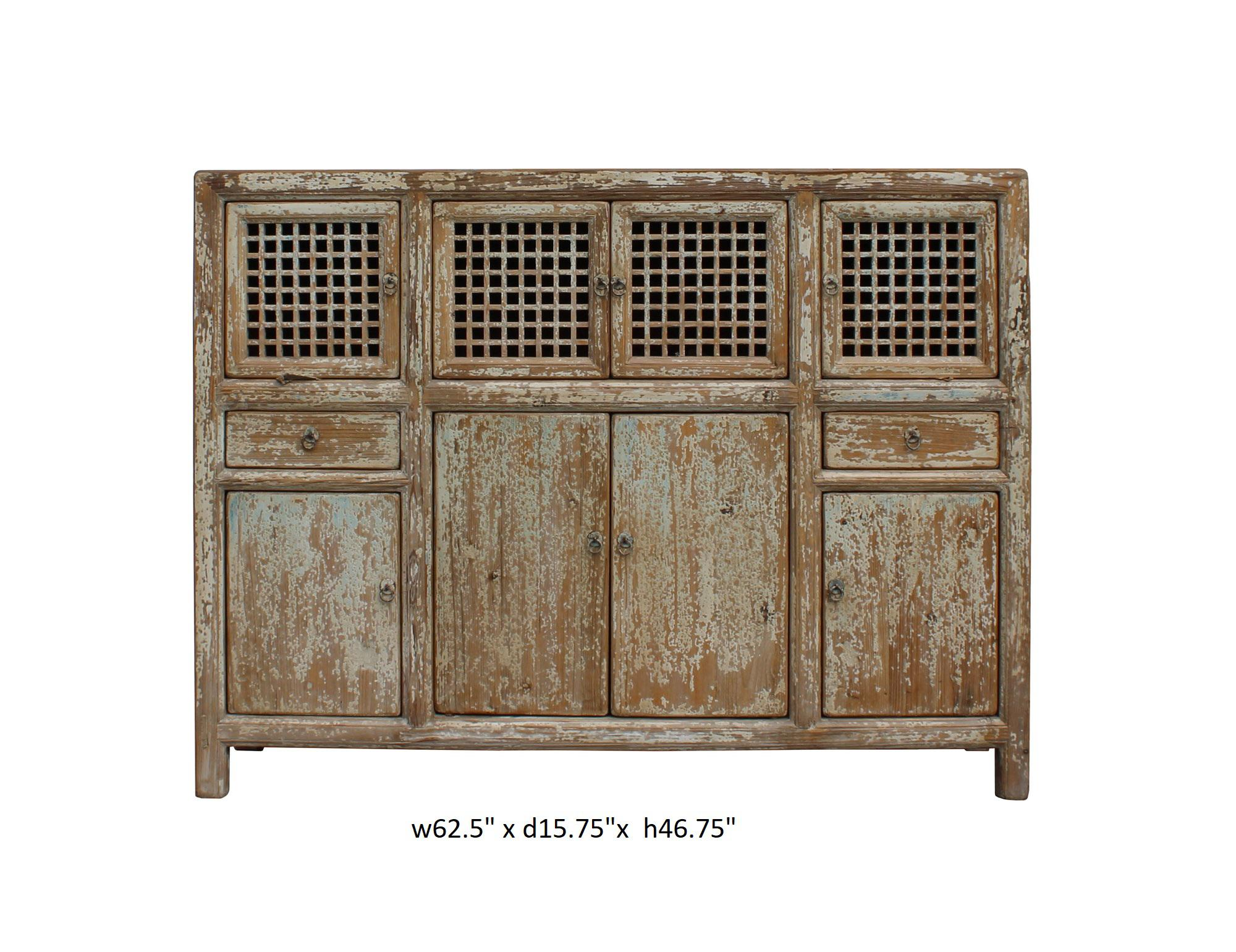 asian kitchen cabinets distressed brown blue motif highboard credenza 1366