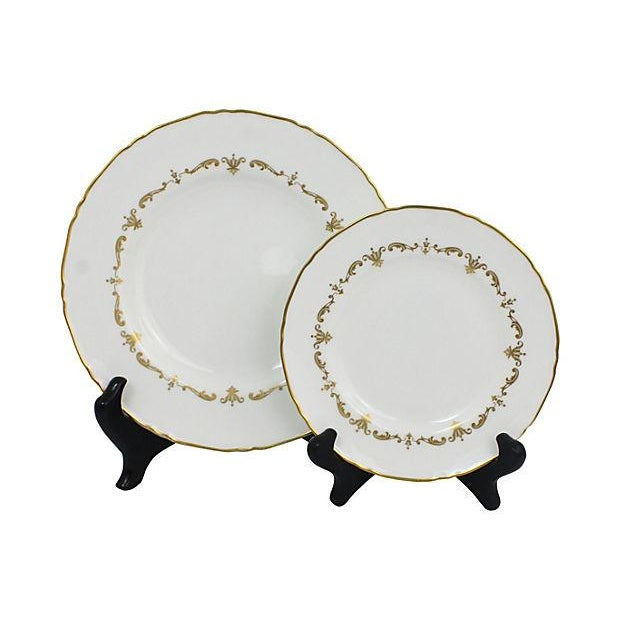 Royal Worcester Gilded Plates - Pair - Image 1 of 6